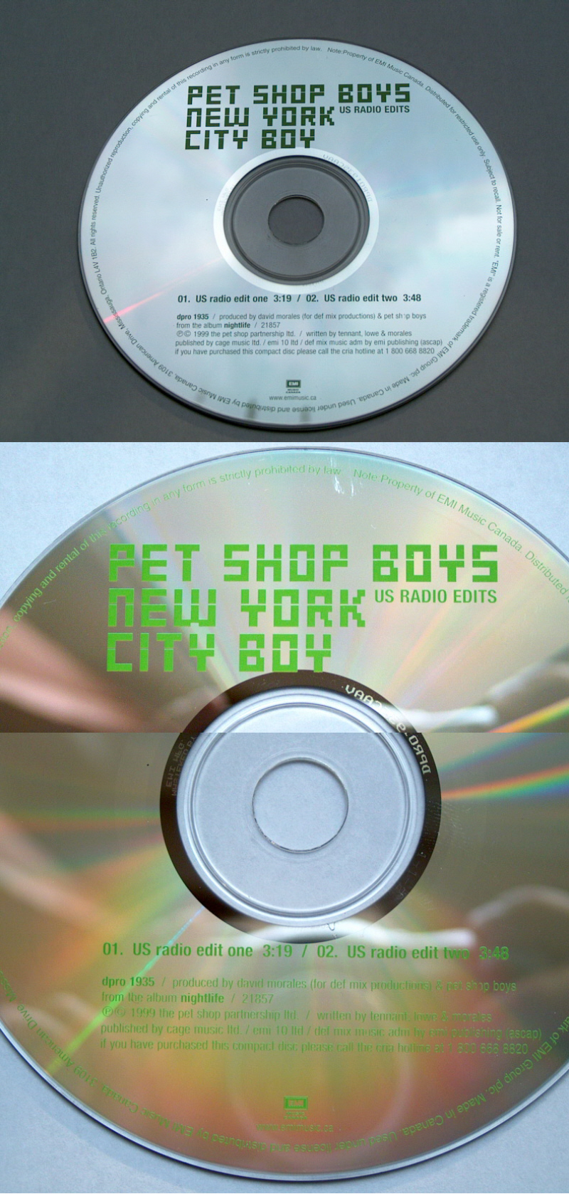 absolut hard to find 'original' Canadian promotion CD of New Your City Boy - even the promo CD-R with the same tracklisting is easier to find! Seems only 10-20 really exist